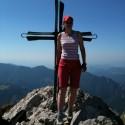 Pred krížom na vrchole Veľkého Rozsutca.